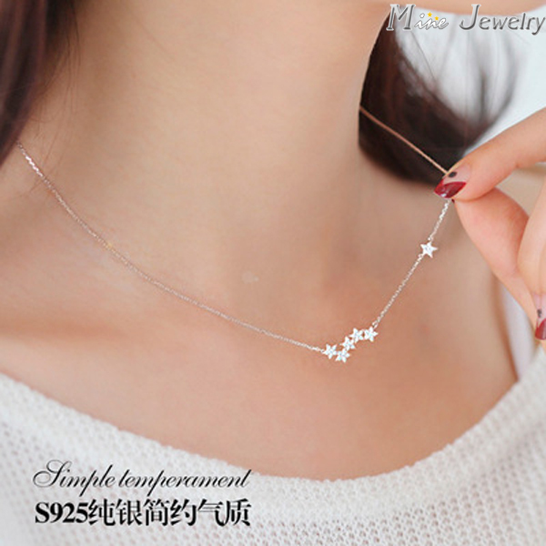 Drop Shipping 925 Sterling Silver Chain Necklaces Star Pendants&Necklaces Jewelry Collar Colar de Plata(China (Mainland))