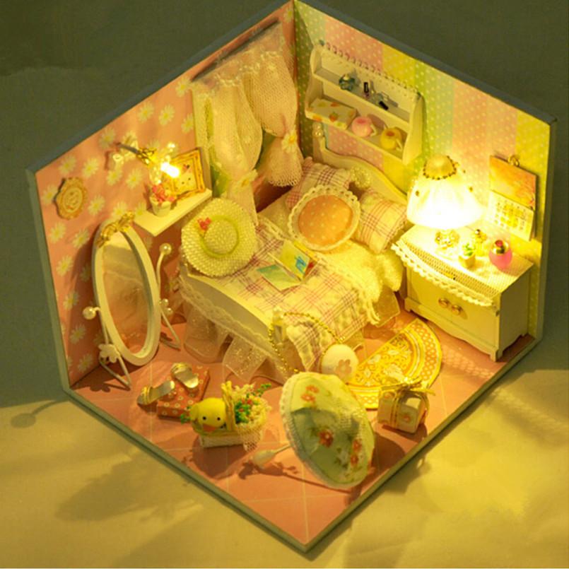 DIY Wood Minitura Doll Home Miniature Dollhouse Furnishings Handmade Assembling Toys for Children, Spring Phrase Dolls Homes