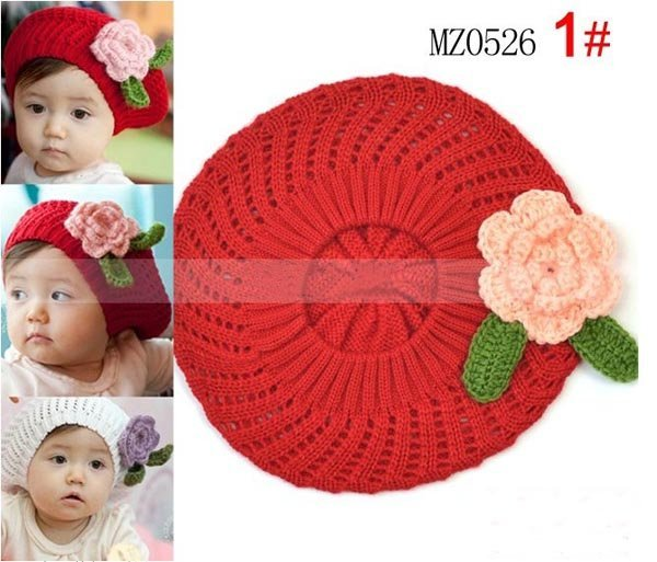 Hand-made 3 colorsCotton knitted hat  POP flowers children hats Mix order hot Crochet Hat Cap, 20pcs/lot