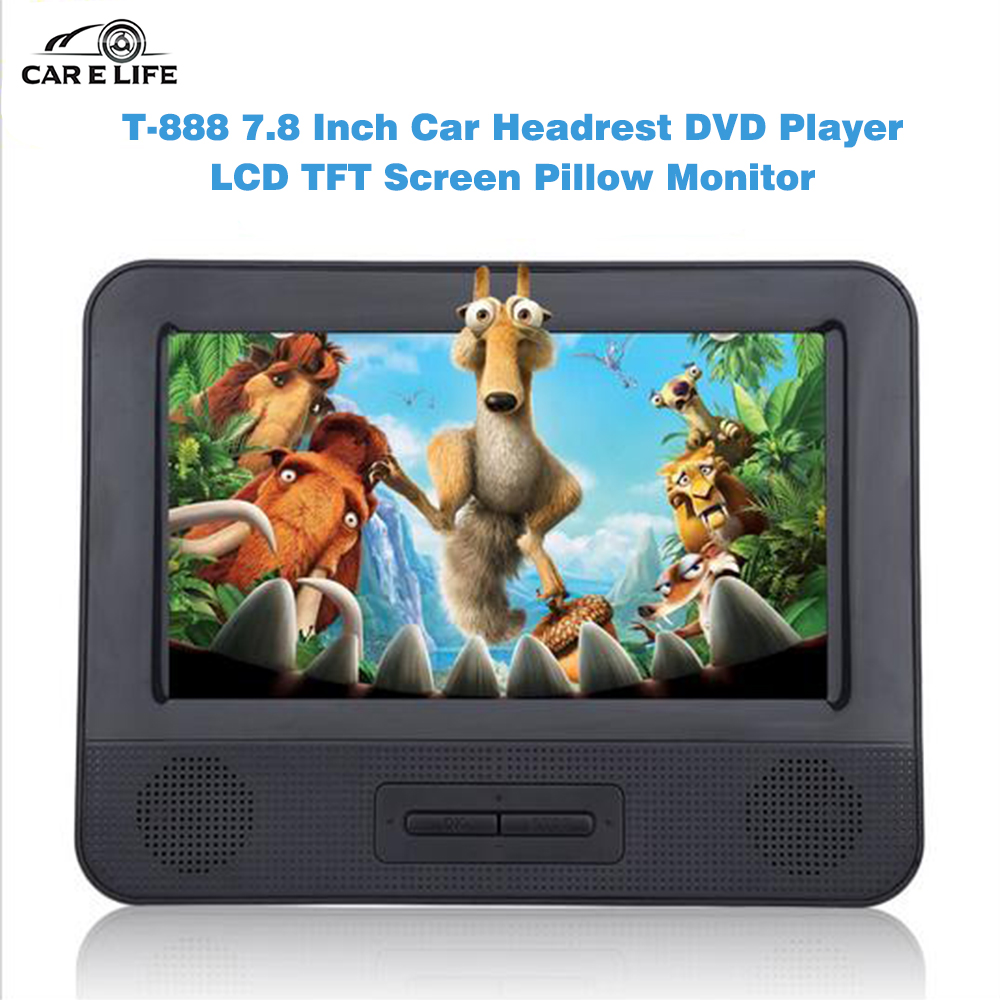 1 Pair Car Headrest DVD Player 7.8 Inch Dual HD LCD TFT Screen Pillow Game Monitor Video Radio Support Disc USB SD MMC MP3 MP4(China (Mainland))