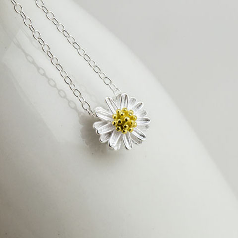 Small daisy 925 pure silver necklace female fashion chain - Your Best Collection store