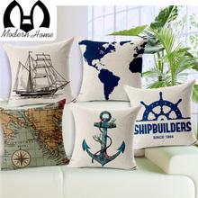 Nautical Anchor Sailor Sailing Map Cotton Cushion Sofa Piaochuang Pad Home Decoration Pillow Cover Cushion Cover(China (Mainland))