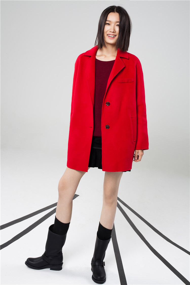 2015 exquisite high-end Western style manual type cocoon red double-sided velvet coat - Risa International Co., Ltd store