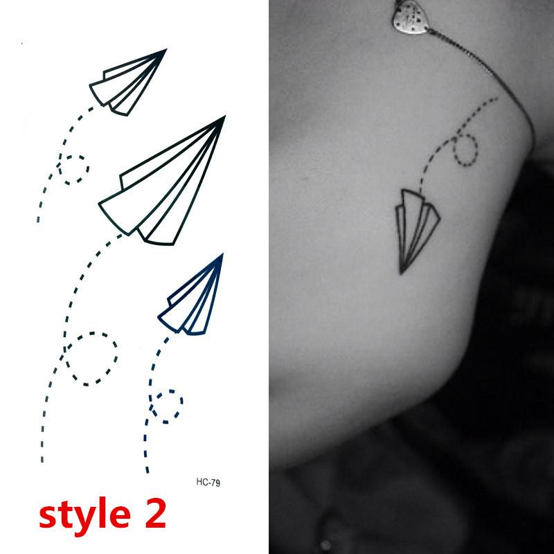 Crazy Sale Fashion Women Men Tattoo Bat Flying Paper Airplane and Cute Cat Print 6 Set/lot Free Shipping(China (Mainland))
