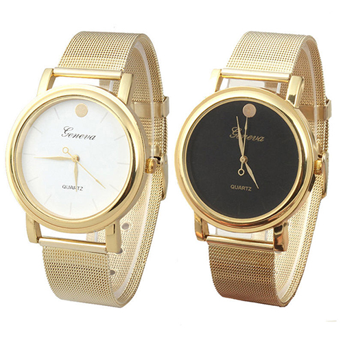 Women Men Classic Quartz Analog Round Case Mesh Band Alloy Golden Tone WristWatch New Design<br><br>Aliexpress