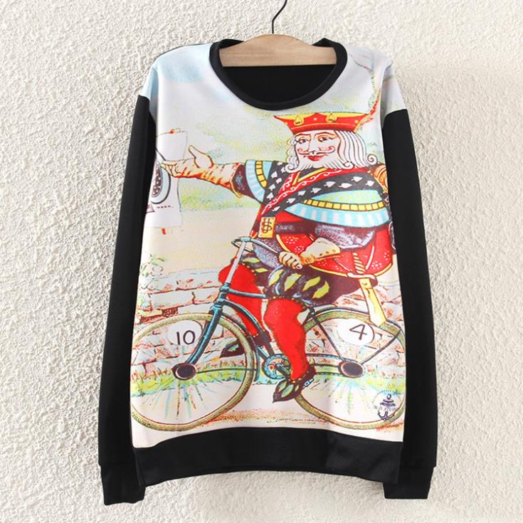 Autumn New 2014 Novelty sweatershirt women fashion printed cotton fuuny character knitted hoody pullover sportswear suit coat(China (Mainland))