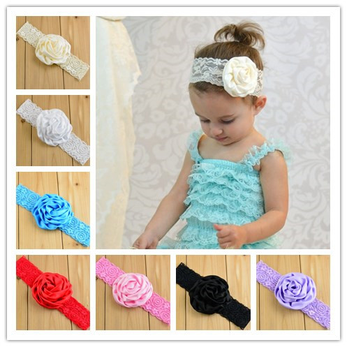 New Baby Girl Rose Flower Lace Headband for Hair Accessories Elastic Stretch Lace Flower Headband 10pcs/lot(China (Mainland))