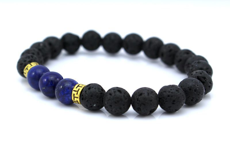 New Products Wholesale Lava Stone Beads Protection Natural Stone Bracelet Men Jewelry Stretch Yoga