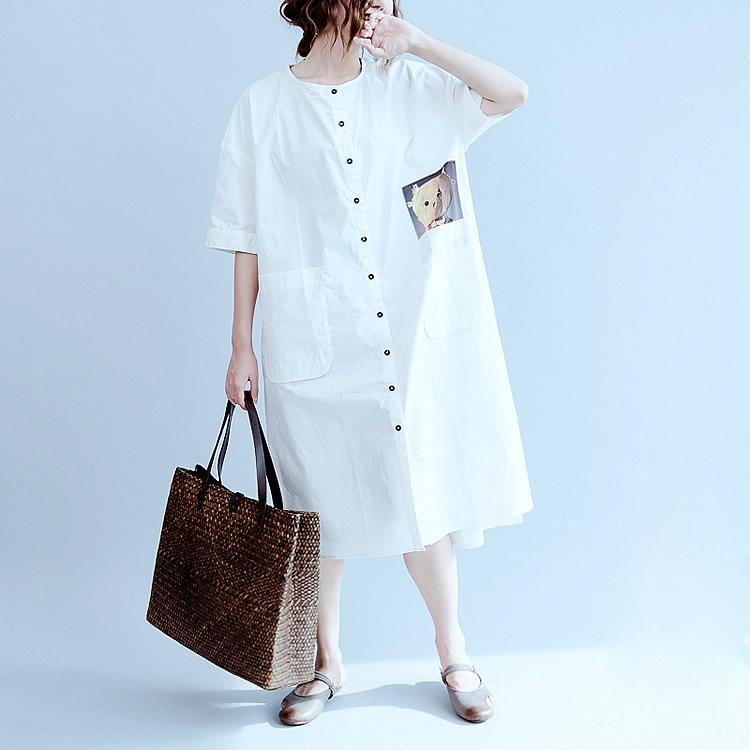 Big Size Women Dress Summer Bear Pattern Print Linen Fashion Casual Female Plus Size Buttons Long Cardigan Dresses With Pocket(China (Mainland))