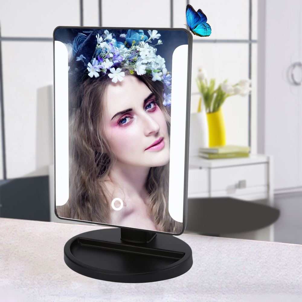 Fashion LED Lamp Makeup Mirror USB Power Portable Folding Vanity Tabletop Lighted Cosmetic Mirror Tools Black White Color(China (Mainland))