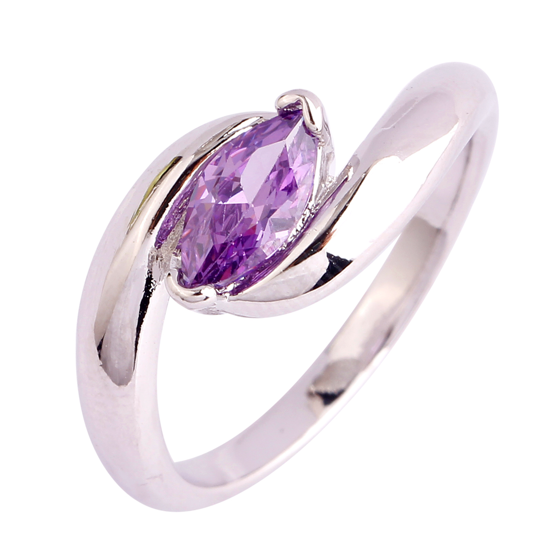 new delicate marquise cut rings amethyst 925 silver