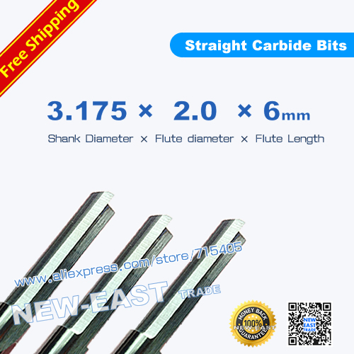 13.175*2*6mm 2 Straight Flute Milling Cutter, CNC Engraving Tools, Wood Router Bits, Carving Foam, EVA, Plywood, MDF,PVC - NEW-EAST TRADE store