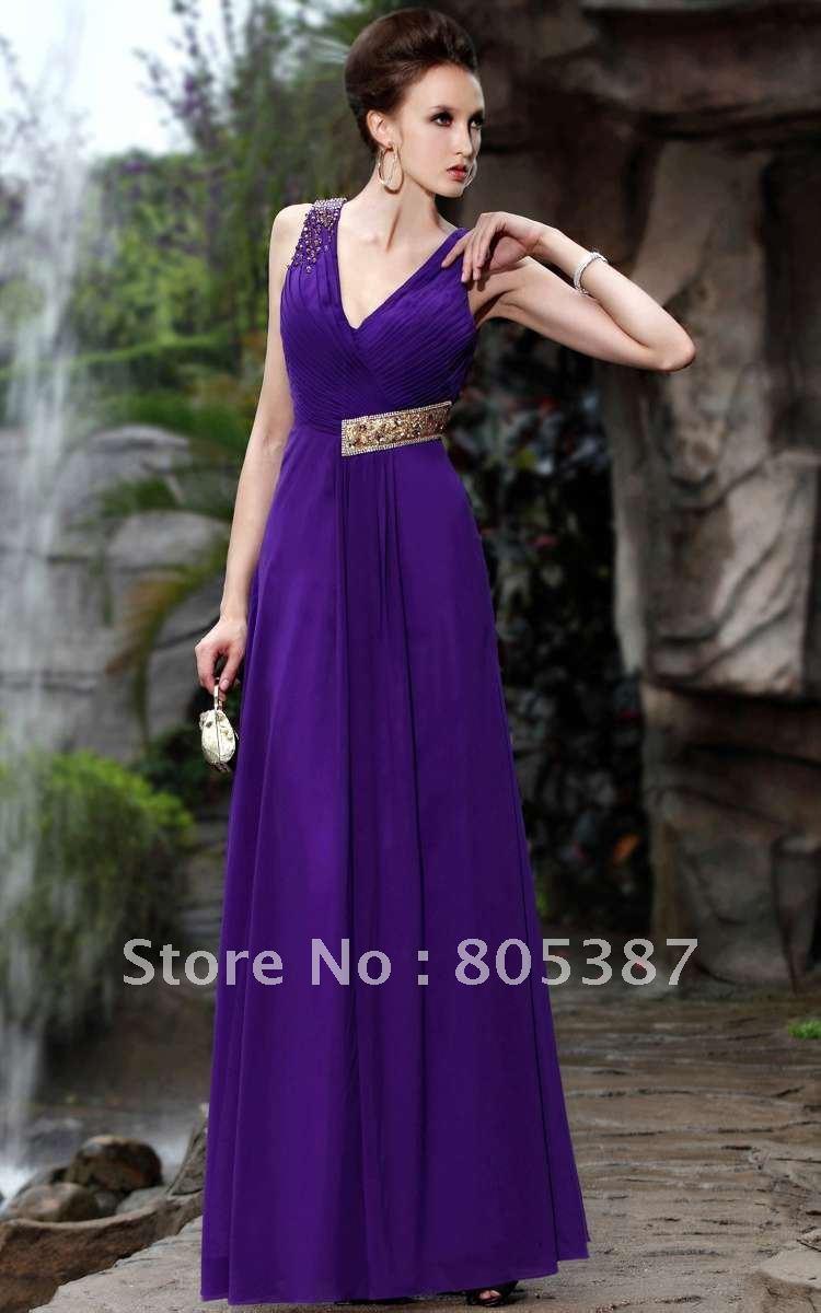 2012 Elegant purple Silk Chiffon Floor Length ladies' evening dresses size S,M,L,XL,XXLfor teee30350 - wedding beauty salon store