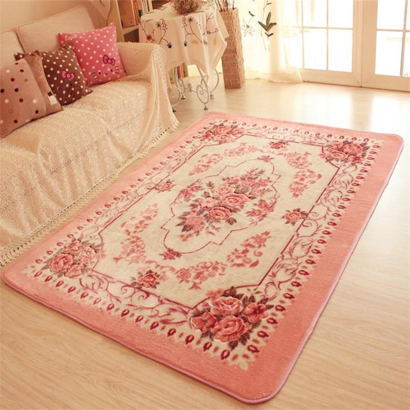 150x200cm big carpets for living room pink flower bedroom for Bedroom rugs