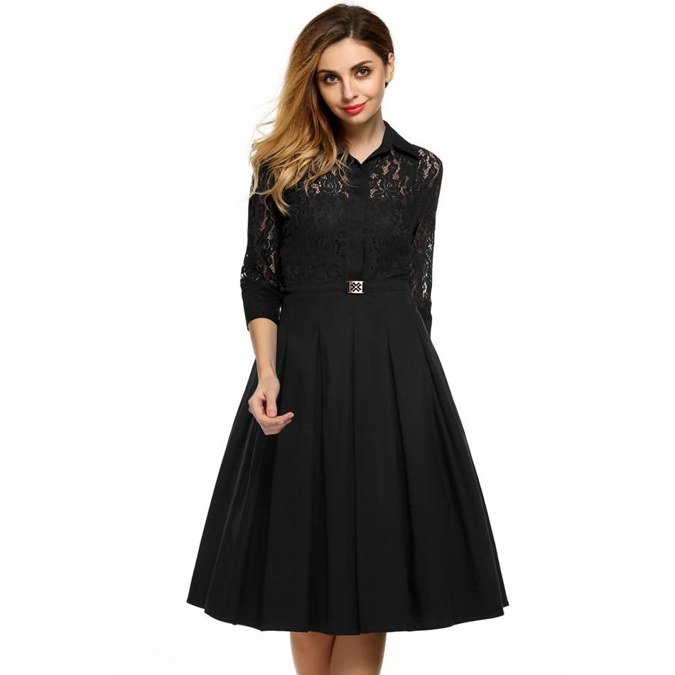 ACEVOG Brand Women Vintage Pleated Dress Autumn Retro ...