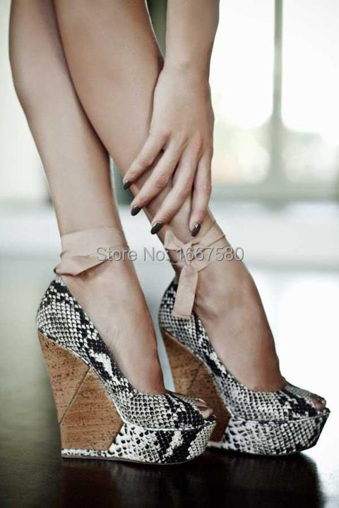 Cociy Womens Summer Coppy Leather Snake Platform Ankle Strap Sexy Wedge High Heel Shoes Peep Toe Wedge Pumps<br><br>Aliexpress