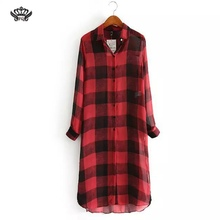 Women plaid long chiffon blouses turn-down collar long sleeve shirts Blusas Femininas European side split tops Red Plaid Shirt
