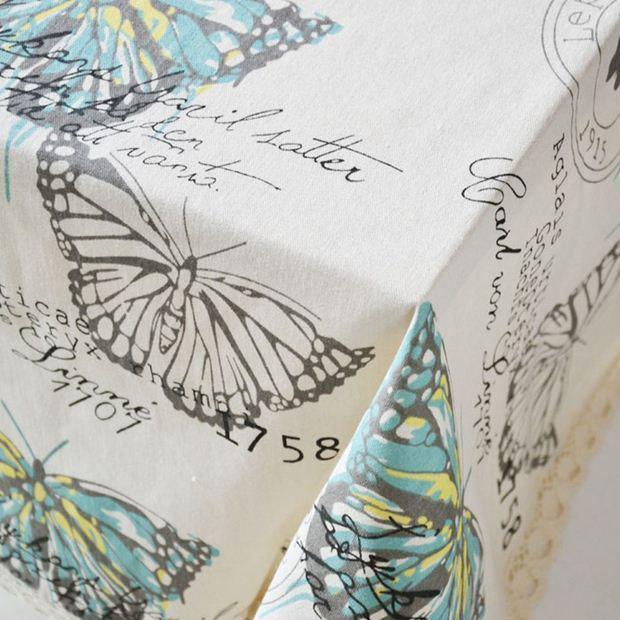 Бабочка лен с кружева края печать прямоугольник кухня журнальный столик домой скатерть toalha-де-меса ZB-28