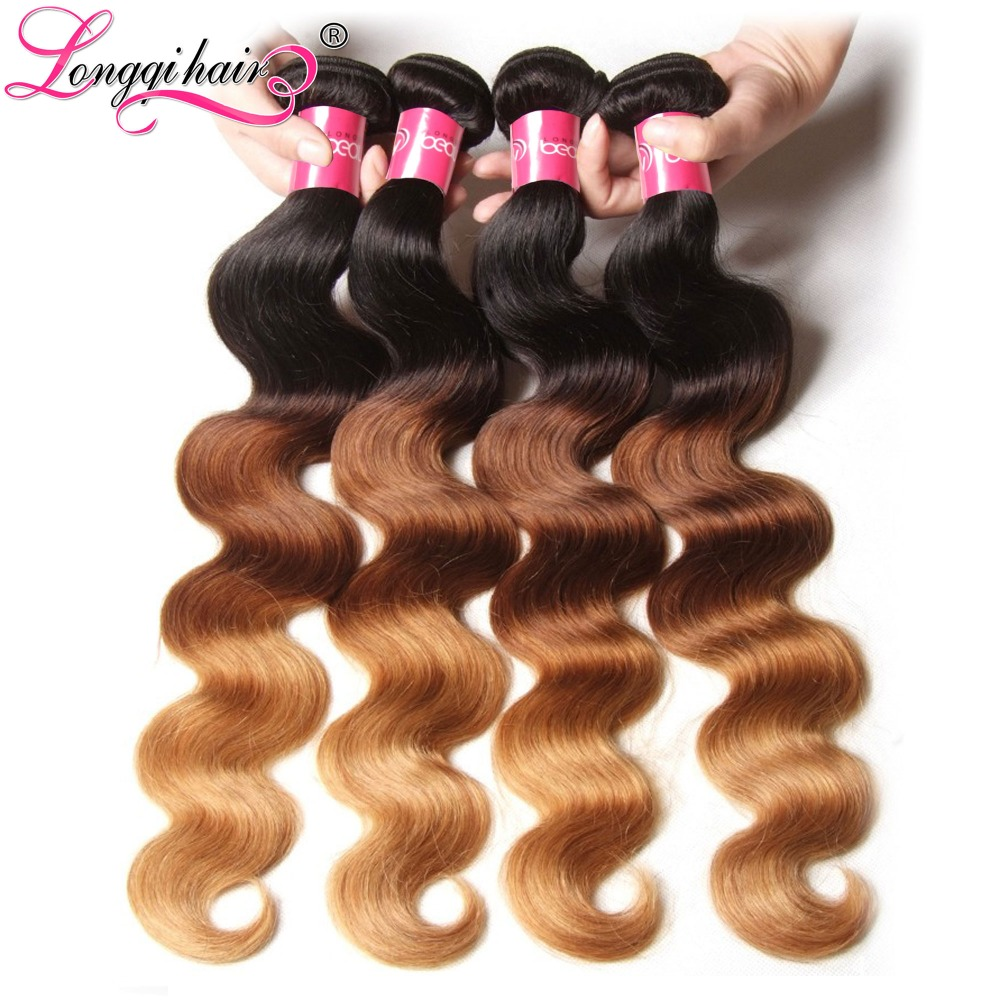 Ombre Hair Extensions Longqi Brazilian Virgin Body Wave Three Tone Human Weave Bundles - Xuchang Beauty Products Co., Ltd. store