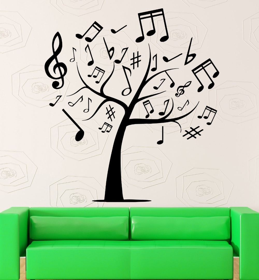 Wall Stickers Tree Sheet Music Cool Room Decor Vinyl Decal