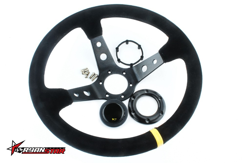 New 14'' 350mm Auto Suede Leather Flat Rack Drifting Steering Wheel with box(China (Mainland))
