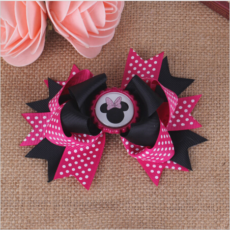 princess bottle cap minnie mickey baby hair bows with clips pins for girls barrette bow clip hairpins hair accessories hairbows(China (Mainland))
