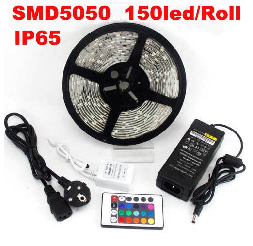 5050 150led 5M RGB LED Strip light SMD 30led/m waterproof + 24 IR remote+ 5A Adaptor, promotion price