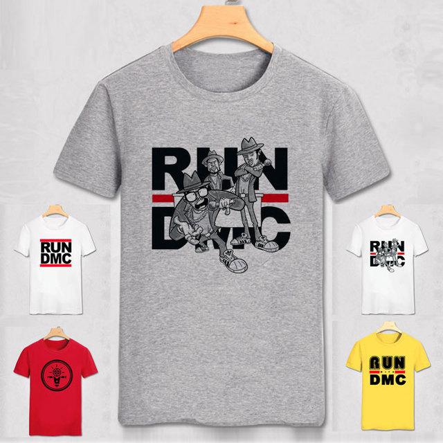 run dmc t shirt hip hop o neck t shirts men cool street. Black Bedroom Furniture Sets. Home Design Ideas