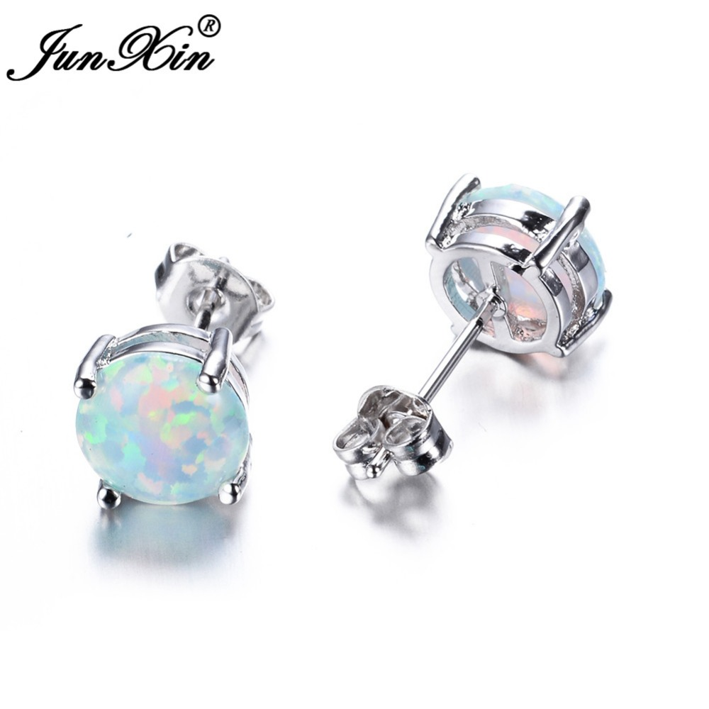 JUNXIN Bohemia Fire Opal Earrings For Women Ladies White Blue Ruby Amethyst Round 925 Sterling Silver Filled Earrings Stud(China (Mainland))