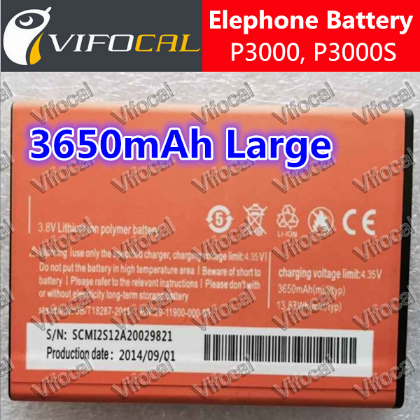 Elephone P3000 battery High Capacity 3650mAh 100% Original large New Replacement P3000S Cell Phone + - Vifocal Technology Co. Ltd store