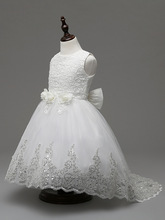 2-8T Girl White Wedding Flower Sequined Princess Dresses with Long Tail Bridesmaid Lace Party Ball Gowns Tutu Children Dress New
