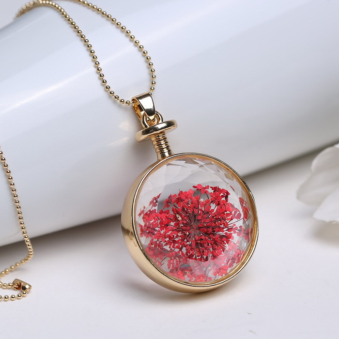 5pcs round gold chain locket red dry flower pendant necklace 2015 natural plant red dried flowers necklaces for women jewelry(China (Mainland))
