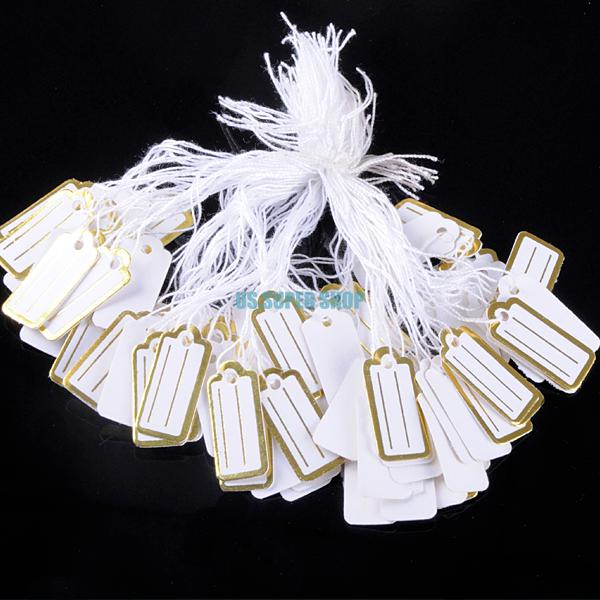 50 jewelry display retail price tags gold white square paper rectangle labels ES4248 - YCDC CO., LED store