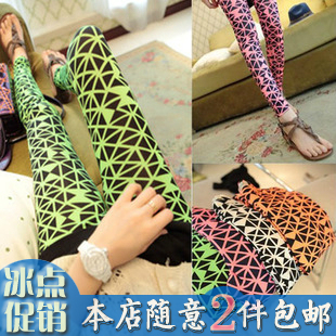 2013 spring super girl neon color graphic geometric patterns fancy personalized vintage design 4 long legging