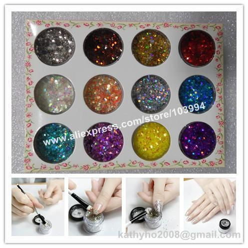 FREE SHIPPING 20SET Super Shiny Nail Glitter Flakes Decoration 3D Nail Art Decorative Materials 12 Color per Set DIY Nail Item