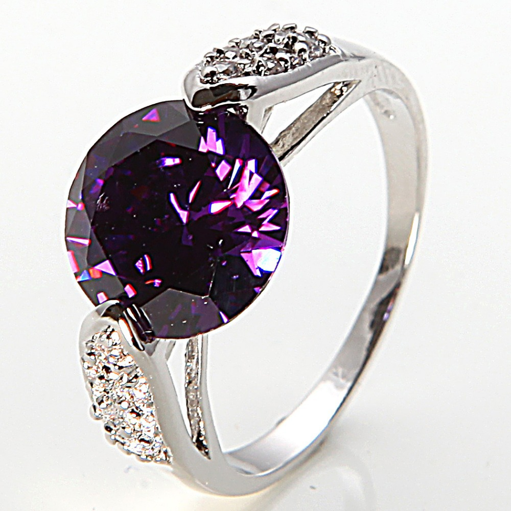 Jewelry 10K White Gold Filled Amethyst Women's Birthday