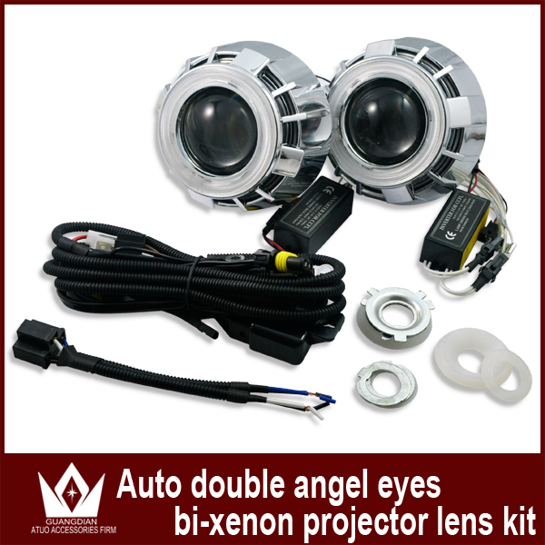 Guang Dian car led light Halo ring Double angel eyes car led projector lens light for headlight hid Bi-xenon lens kit CCFL 35w(China (Mainland))