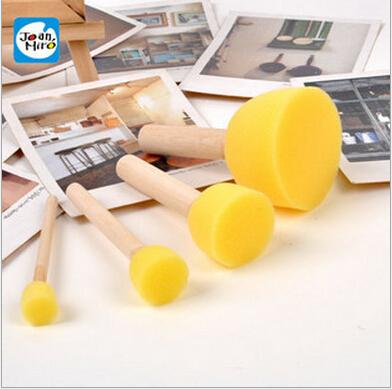4Pcs/Set Kid Sponge Paint Brush Original Wooden Handle Children Painting Graffiti 4 Sizes Kids Early Learning Toy