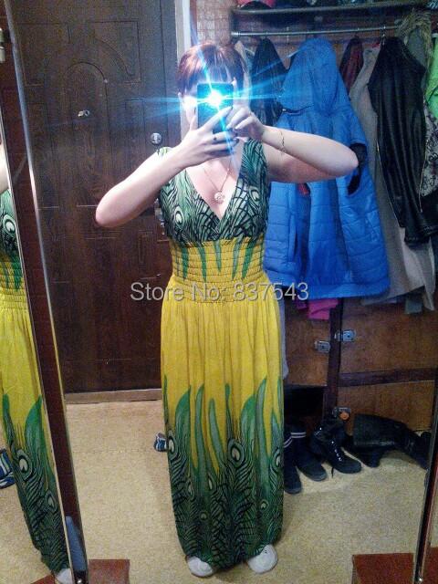 2015 Sell one like Deep V Collar Peacock Bohemia Summer Long Beach Dress Maxi Hotsale New - Nessaj Store store