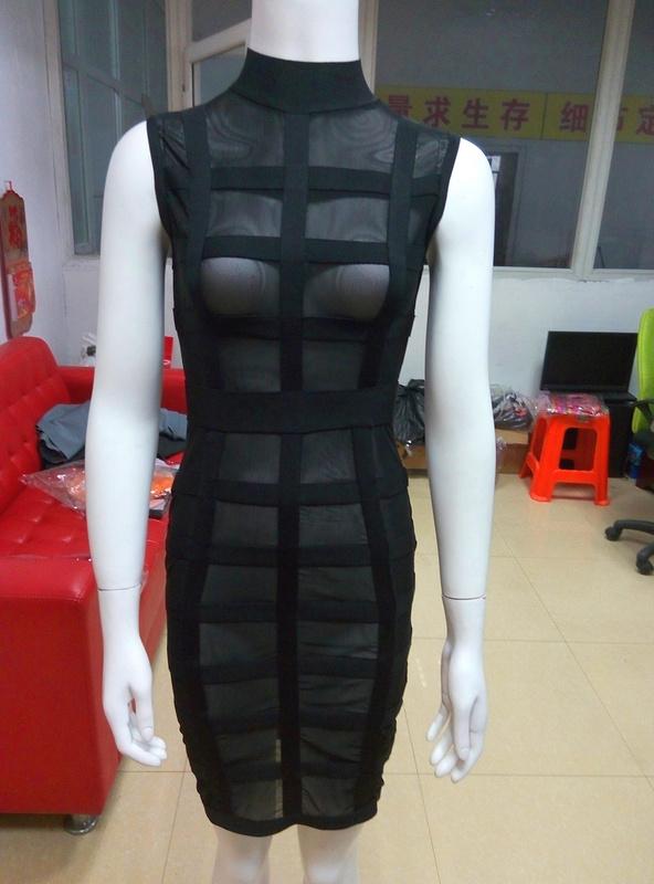 Color Black Orange Ladies Sexy See Bodycon Mini Dress HL Bandage  -  Fashion Factory store