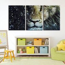 Modular Pictures Canvas Paintings Animal Lion Wall Art Abstract Posters Printed Modern For Living Room Home Decoration Framework(China)