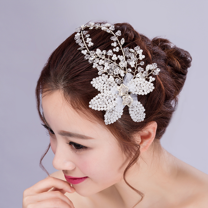 2015 new jewelry pearl head flower headdress korean style sweet bride wedding crystals headpieces bridal hair accessories(China (Mainland))