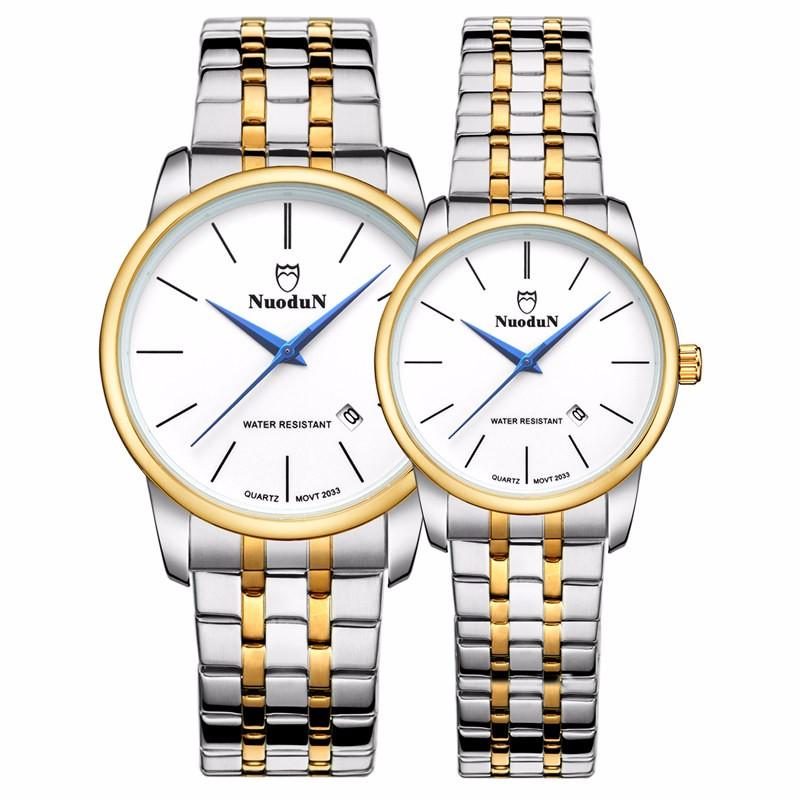 Nuodun Дамы Золотые Часы Моды Часы Женщины Бренд Водонепроницаемый Нержавеющей Стали Часы Ремни Женские Наручные Часы Relojes Mujer