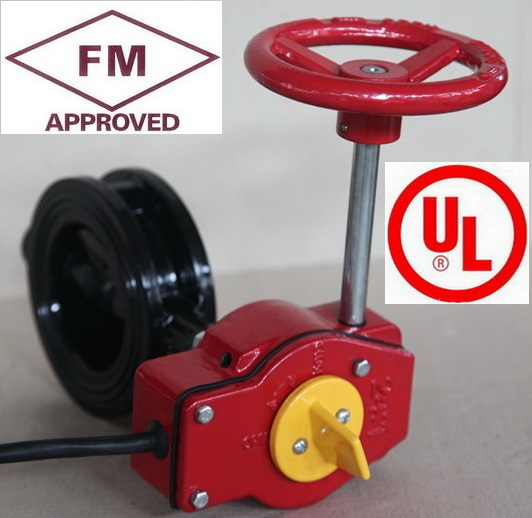 """FM approved UL listed 6"""" DN150 Ductile Iron Gear Operator Wafer DI Butterfly Valve for Fire Sprinkler System Fire Protection(China (Mainland))"""