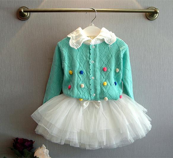 Cute Aqua Knitted Cardigan ,Girl Ruffle Sweater Soft to Wear(China (Mainland))