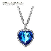 Neoglory Heart of Ocean สร้อยคอหัวใจสีฟ้าโจมตีสร้อยคอไททานิคสำหรับวันวาเลนไทน์ประดับด้วยคริสตัลจาก Swarovski(China)