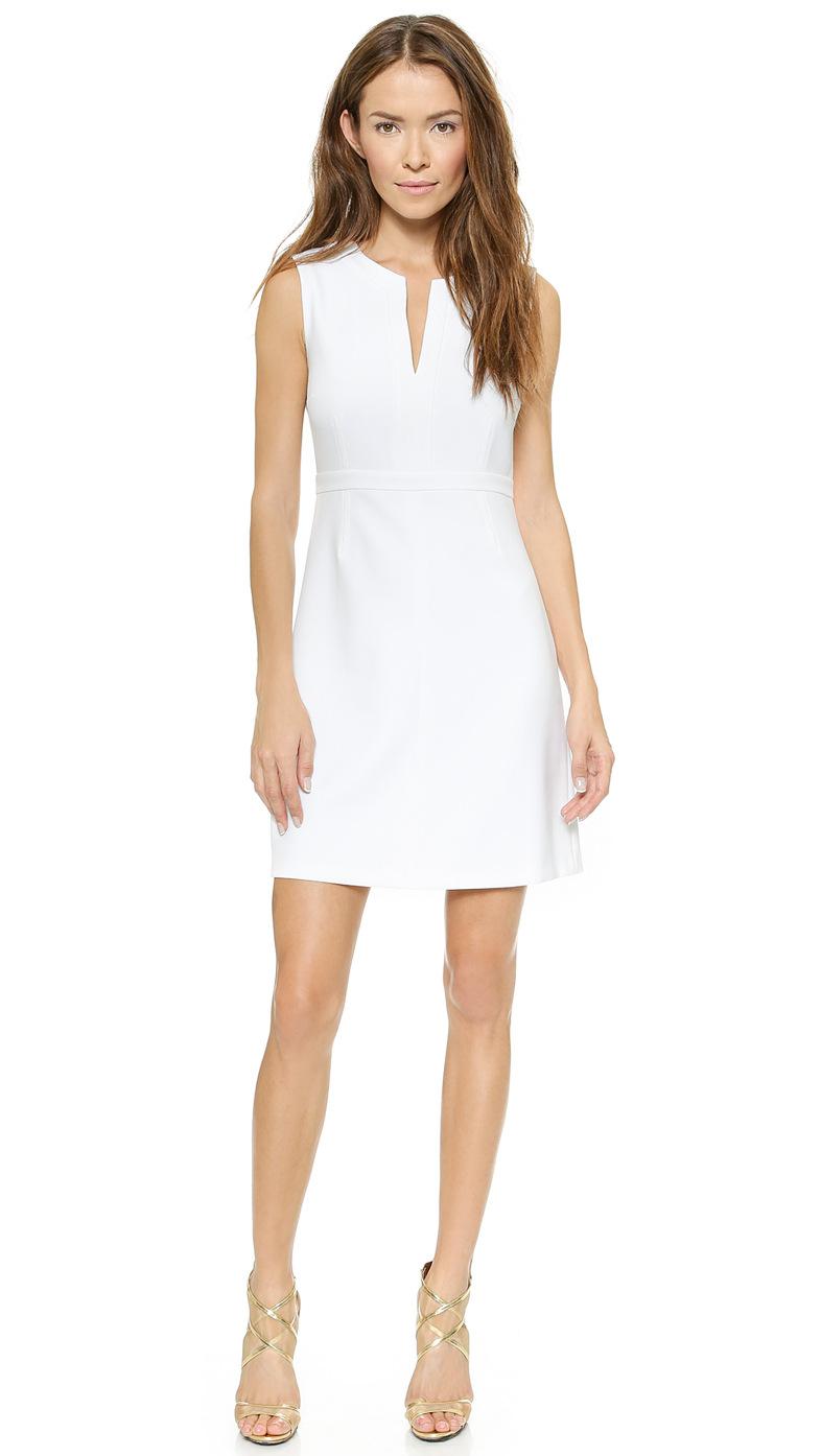 Sleeveless V neck Summer Dress Empire White Dress Women ...