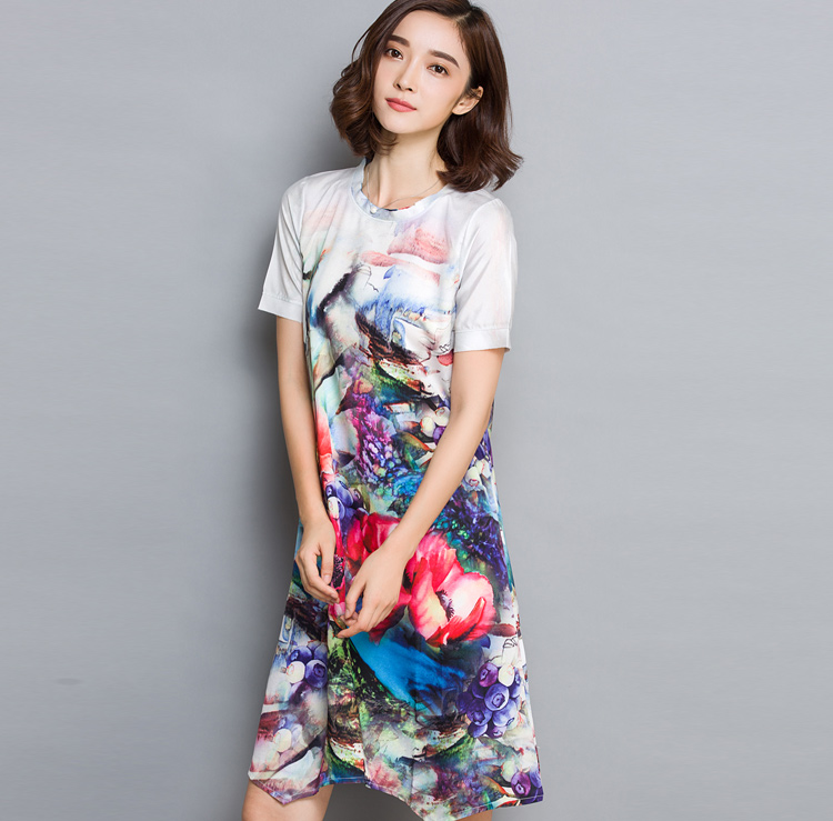 Make new summer wear women's clothing in long loose mulberry silk printing heavy silk dress big yards(China (Mainland))