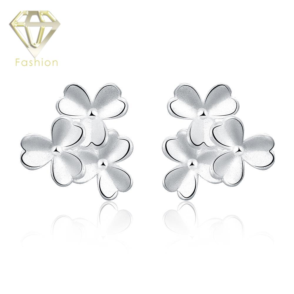 Overstock Jewelry Trendy Silver Plated Creative Multi Clover Flowers Stud Earrings Fashion Earring for Girl Party(China (Mainland))