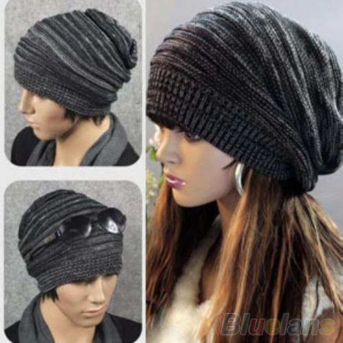 New Unisex Womens Mens Knit Baggy Beanie Hat Winter Warm Oversized Ski Cap 1PR4